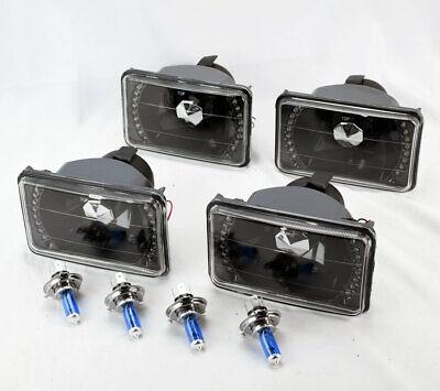 "FOUR 4x6"" Halogen H4 Black w/ White LED DRL Glass Headlight Conversion GMC"