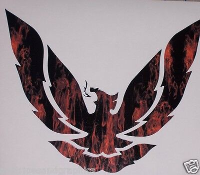 "Small REAL FIRE Printed phoenix firebird 9.5"" x 8"" Window Decal Decals Ram Air"