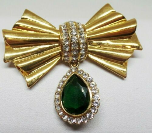 HS AVON SIGNED GREEN CRYSTAL BOW BROOCH!