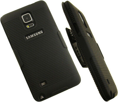 Rubberized Holster Clip (BLACK RUBBERIZED HARD CASE + BELT CLIP HOLSTER STAND FOR SAMSUNG GALAXY NOTE)