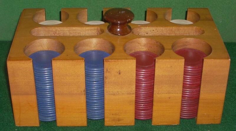 Vintage Wood Poker Chip Rack with 200 Poker Chip Set