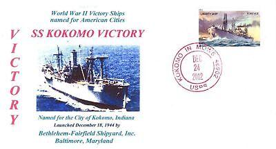 KOKOMO VICTORY Ship named for City of Kokomo, Indiana Color Cachet Handstamp PM](City Of Kokomo)