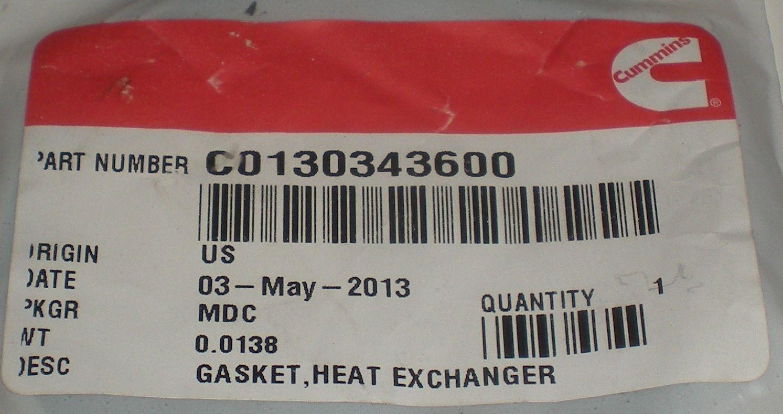CUMMINS C0130343600 HEAT EXCHANGER GASKET OEM GENUINE ORIGIN