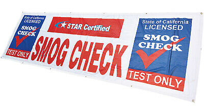 Star Certified Smog Check Test Only Banner Sign Vinyl Alternative 3x10 Wb Fabric
