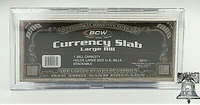 Large Bill Deluxe Currency Slab Acid Free Crystal Clear BCW Banknote Holder Case