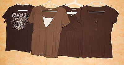 Mädchen Baby Doll Top (4 Set T-Shirt Shirt Kurzarm Damen Mädchen Gr S M 36 38 braun Khaki Top Babydoll)
