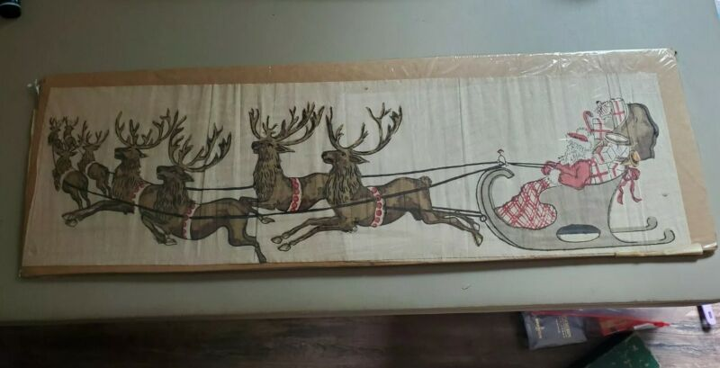 BEAUTIFUL! VINTAGE ANTIQUE SANTA CLAUS REINDEER TISSUE PAPER - BAGGED & BOARDED