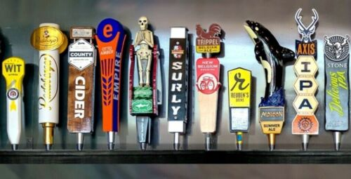 11 BEER TAP HANDLE DISPLAY BLACK WALL MOUNTED INCLUDES BRACKETS for kegerator