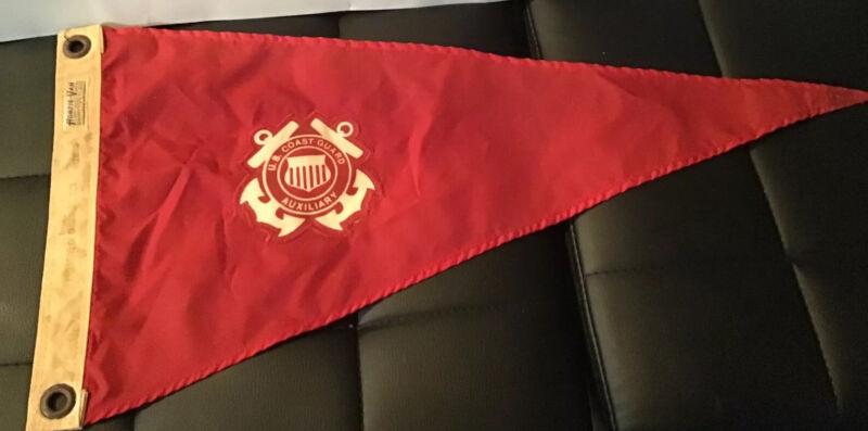 Pennant Flag US Coast Guard Auxiliary Red Rare 24x23x11 Hortie -Van