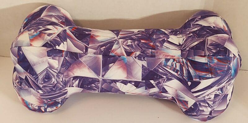 Neck Pillow, Handmade, Dog Bone, WASHABLE - Purple & White Multicolored Design