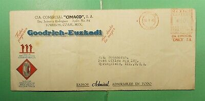 DR WHO 1940 MEXICO TORREON METERED ADVERTISING TO USA  g21489