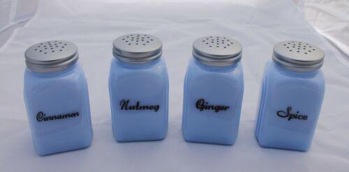 New Delphite Blue Glass Spice Jars Set Printed Arch Art Deco Shakers Metal Tops