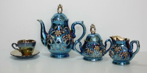 Vintage Ukrainian Tea Set-Iridescent Blue & Gold Floral Motif