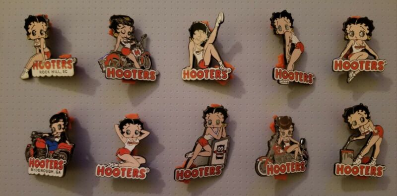 Hooters Betty Boop Pin Series 2005 Complete Set Of 10 Pins