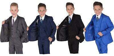 Boys Suits 5 Piece Wedding Page Boy Party Prom Suit Blue Black Grey 2-12 Years - Black Boys Suits