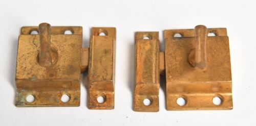 2 VINTAGE BRASS FINISH  DOOR CABINET LATCHES WITH KEEPERS