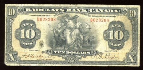 Barclays Bank $10, 1929 - Rare with only 8 Known - Cat#30-10-04a