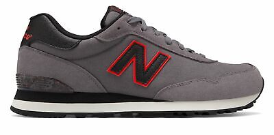 New Balance Men's 515 Shoes Grey with Black & Red Black Red Sneakers Shoes