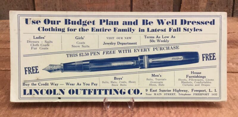 Vintage LINCOLN OUTFITTING Department Store Advertising Blotter Freeport L.I.