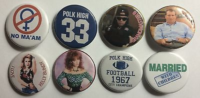 """Married With Children Set of 8 1 1/4"""" Custom Pinback Buttons"""