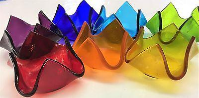 Rainbow Handmade Fused Glass Tea Light/Candle Holders Chakra Colors