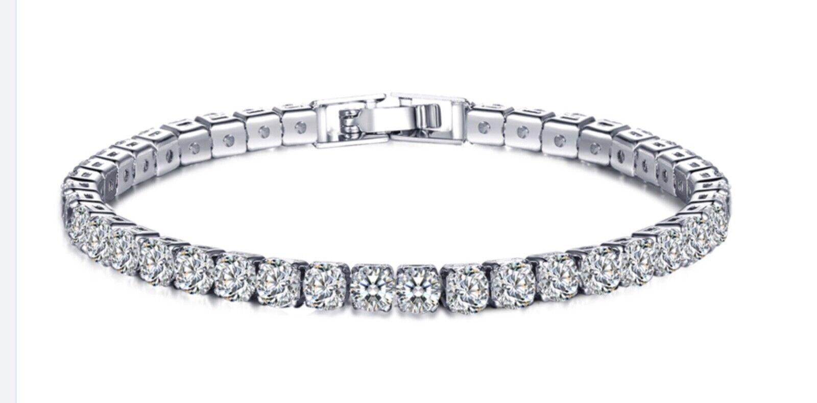 925 Sterling Silver Round Cut Tennis Bracelet 18K Women Bracelet Cubic Zirconia