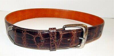 Ralph Lauren Italy Genuine Alligator Belt Sterling .925 Silver Buckle sz 32