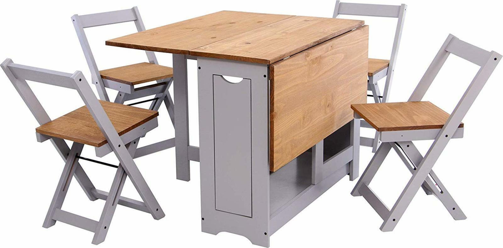 - Table And 4 Chairs Wooden Folding Dining Set Extending Space