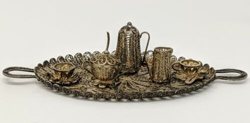 Vintage - Sterling Silver Filigree Miniature Continental Tea Service for Two