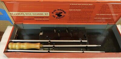 Vintage Marble's Rifle Cleaning Kit, tin box, rod, excellent condition, used
