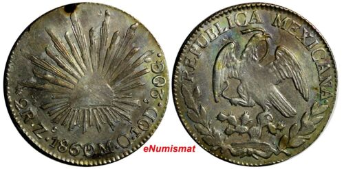 Mexico FIRST REPUBLIC Silver 1860/59 Zs MO 2 Reales OVERDATE Zacatecas KM#374.12
