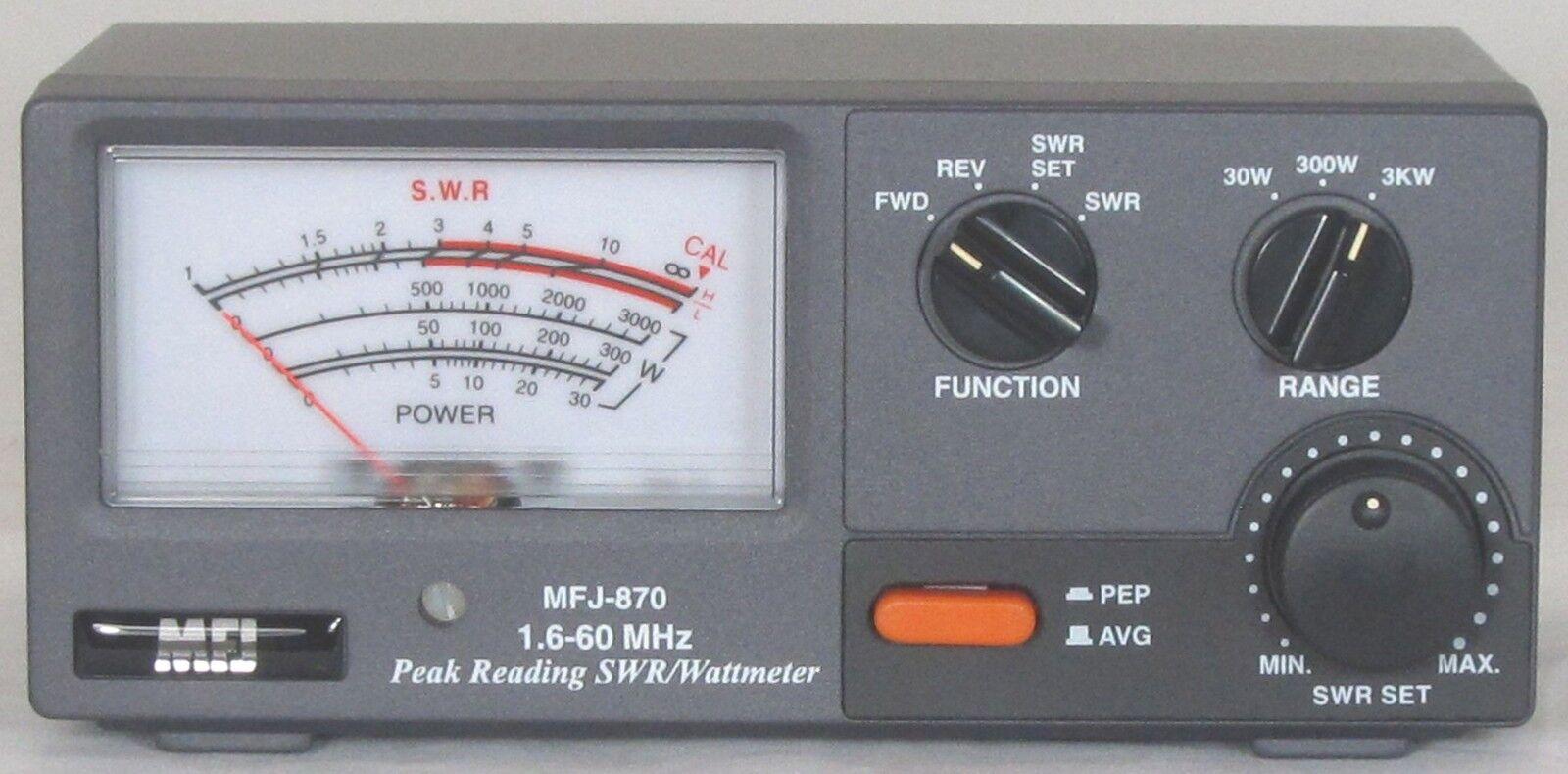 Mfj 870 Swr Meter 1 8 60mhz 30 300 3000w 650619025408 Ebay