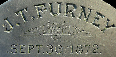 ANTIQUE ENGRAVED USPS MAIL TAG 1872 CHICAGO & NORTH WESTERN RAILWAY RR FURNEY