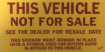 Vehicle Not For Sale Sticker Quantity 100 790 F12