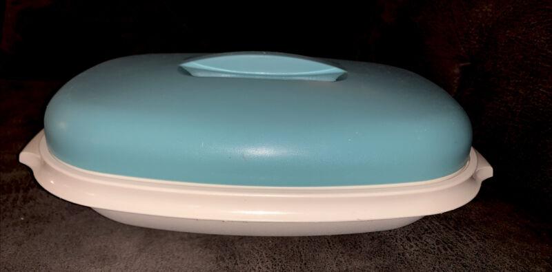 "3 Pc VTG Tupperware Vegetable Steamer Casserole Bowl Turquoise Blue 12"" x 8"" Euc"