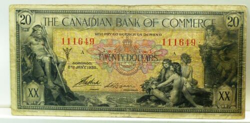 1935  CANADIAN BANK OF COMMERCE $20 -- MYTHOLOGY SERIES BANK NOTE