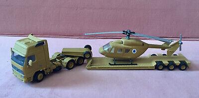 JOAL Diecast 1:50 model VOLVO FH16 Truck Trailer+SIKU Helicopter Custom Painted