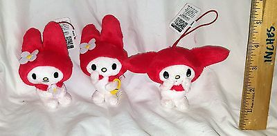 NEW SANRIO MY MELODY CLASSICAL MASCOT DANGLE PLUSH SET OF 3! JAPAN! FREE SHIP!
