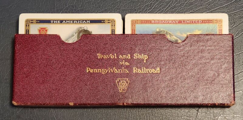 "Pennsylvania Railroad playing cards ""The American"" & ""Broadway Limited""  in case"