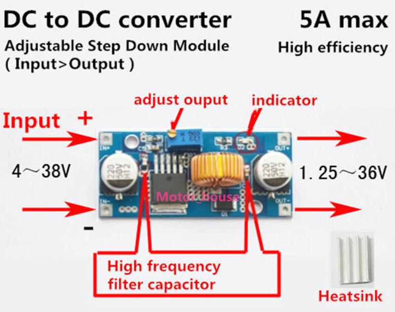 DC-DC Buck Step-down 5V-36V to 3.3V 6V 9V 12V 24V 5A Converter Voltage Regulator