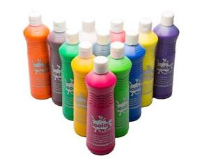 Kids Craft Poster Paint 12 X 600Ml Bottles Washable Ready Mix Assorted Childrens
