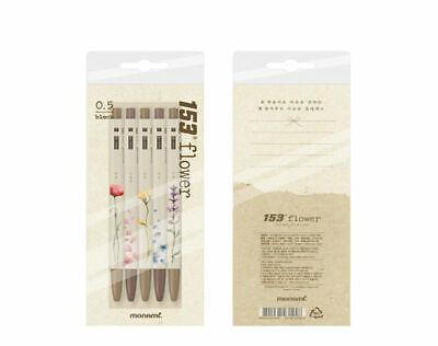 MonMONAMI 153 Ballpoint Pen flower 0.5mm 1 dozen (5pcs) Ink Black