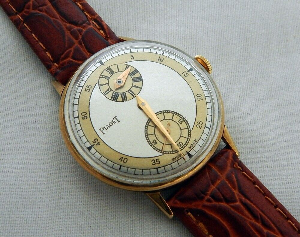 VINTAGE DRESS PIAGET REGULATOR MECHANICAL 34.8MM GOLD PLATED CASE WATCH SERVICED