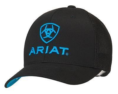 Ariat Western Mens Hat Baseball Cap Flex Fit Mesh Black 1502301 Black Flex Fit Cap