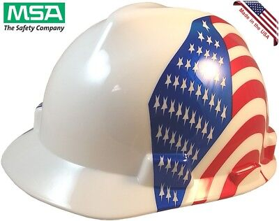 Msa V-guard Hard Hat Patriotic American Flag On Both Sides - One Touch Liner