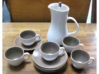 Poole pottery Vintage 1960's 12 piece Coffee set Chocolate brown and cream No chips