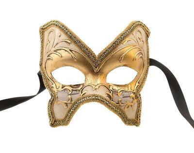Mask from Venice Colombine Farfallina Golden for Prom Mask 961 V4B