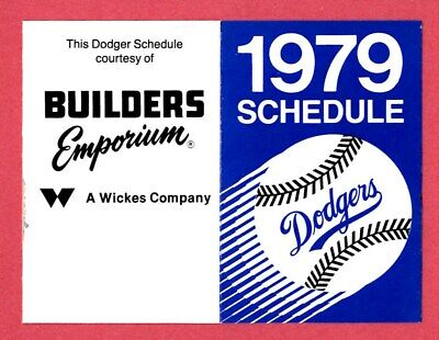 MLB BASEBALL 1979 LOS ANGELES DODGERS pocket schedule BUILDERS EMPORIUM Los Angeles Dodgers Pocket