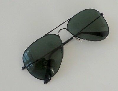 New Ray Ban Aviator RB 3025 L2821 black/green size large 62mm sunglasses