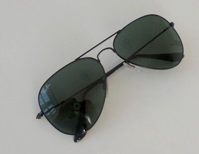 New Ray Ban Aviator RB 3025 W3235 black/green size small 55mm Junior sunglasses (Small Size Aviator Sunglasses)